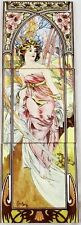 Morning Awakening Tile Panel Mucha Lady Decorative Tile Panel Hand Made in UK