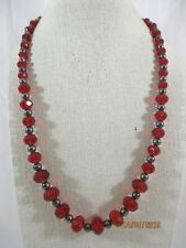 """Glass Beaded Strand Necklace 21""""-24"""" L Dark Metal Tone & Graduated Faceted Red"""