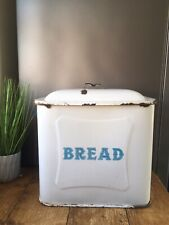 Large Vintage 1920s White Blue Enamel Bread Bin Storage Container Bakery Display