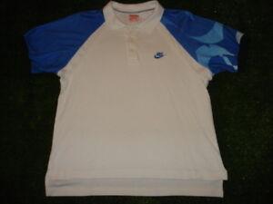 Vtg NIKE Andre Agassi Challenge Court BLUEWhite NEON LOGO Shirt L VERY CRISP