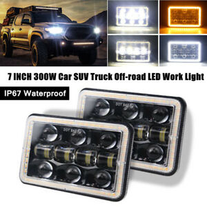 2X 7INCH 300W Car Truck Off-road LED Angel Eye Work Light W/Flood Driving Lamp