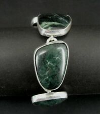 Bracelet Sterling Green Stones Chunky Jasper Silver 925 Heavy Bracelet