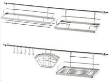 16 Teile Edelstahl Küchenreling Küchenleiste Relingsystem Tuchhalter Haken