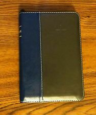 "Russian Bible Leather Blue/Gray with zipper & index 7""X 5"""