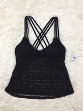 Bongo Black Strappy Crochet Tankini Swim Bikini Top Size Medium NEW