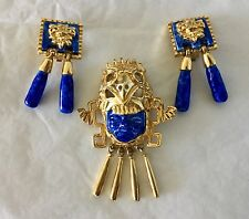 SALVADOR TERAN MARBEL Signed AZTEC GOLD Metal EARRINGS BROOCH PIN SET Vintage
