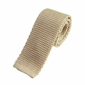 Men's Plain Light Oatmeal Slim Narrow Width Silk Knitted Tie (N001)