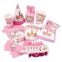 Unicorn Party Tableware Paper Plate Kids Birthday  Baby Shower Decor Supplies