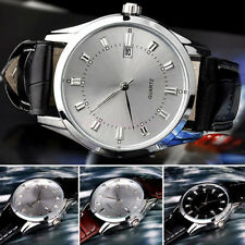 Men Vintage Date Calendar Dial Faux Leather Business Analog Quartz Wrist Watches