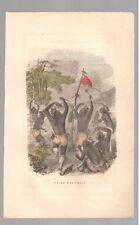 """1857 Hand Colored Art Print Engraving """"Indian War-Dance"""" Free Shipping"""