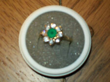 Hallmarked 9Ct Gold Green stone and CZ cluster ring size O  2.4 grams