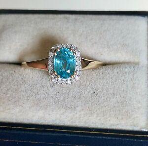 1.40CT BLUE ZIRCON & DIAMOND RING 9K YELLOW GOLD SIZE S  'CERTIFIED SI' BNWT