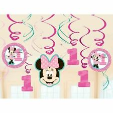 1st Year Old Minnie Mouse 1x Swirl Decoration Birthday Party Supplies Dangler Pa