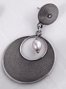 925 Sterling Silver Dangling Art Deco Disk Pearls Earrings