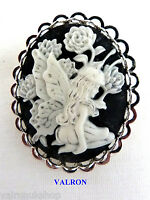 FAIRY CAMEO PIN BROOCH ON SILVER PLATED MOUNT - CHOICE OF COLOUR NEW AND BOXED