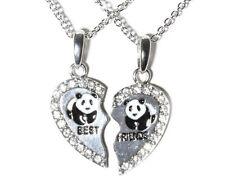 NEW BEST FRIEND Panda Heart Silver Tone 2 Pendants Necklace BFF Friendship