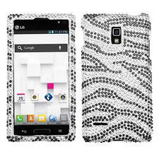 For LG Optimus L9 Crystal Diamond BLING Hard Case Snap On Phone Cover Zebra