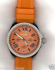 $125 NWT Fossil AM4491 Cecile GMT Multi-function Orange Silicone Ladies Glitz