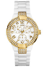 New GUESS  Women White PC Gold-tone Watch U11623l1 comes with original guess box
