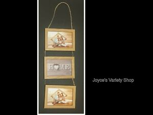 """Wood Photo Frame 3 Tier Cascade Wall Hanging All Natural Rope 6"""" x 4"""""""