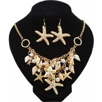 1 Set Trendy Natural Shell Bib Beach and Necklaces Starfish Earings Set Pendant
