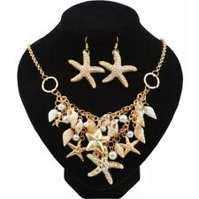 1 Set Trendy Natural Shell Bib Beach and Necklaces Starfish Earings Set Pendant