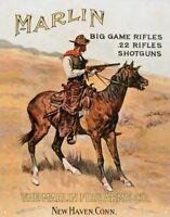 Marlin Firearms Co. Big Game Cowboy Guns Horse Hunting Retro Tin Sign 13 x 16in