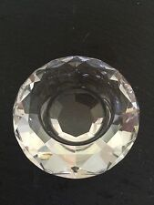 CRYSTAL ROUND SHAPED TEA LIGHT HOLDER reflects rainbow colours when candle lit