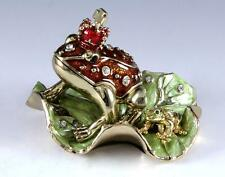 NEW RED CROWNED BROWN FROG WITH GENUINE CRYSTALS BEJEWELED GREEN TRINKET BOX