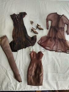 Tonner Tyler Wentworth Fashion Brown Satin Dress with Wrap Shoes and Jewelry