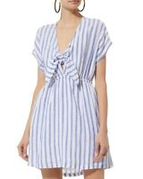 Rails Charlotte Blue White Striped V Neck Tie Front Dress Size M Linen