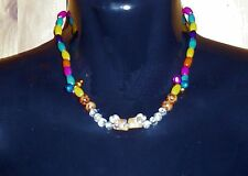 Stretch Elastic CERAMIC PUPPY CHOKER NECKLACE 2 Dogs & BEADS Hand made