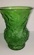 """Vtg E.O. BRODY Crinkle Green Glass Flower Vase 8"""" D"""