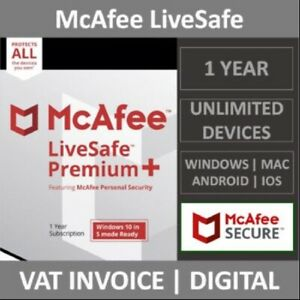McAfee LiveSafe 2021   Unlimited Devices   1 Year   PC/Mac/Android/Smartphones