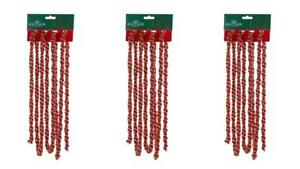 9 Feet Twisted Strand Red Gold 9' Bead Christmas Garland Set of 3