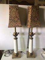 """Antique Rare Bronze Pair Identical Table Lamps 35"""""""