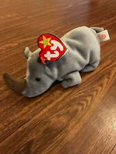 Ty Beanie Baby Spike The Rhino 1996 with Display Case