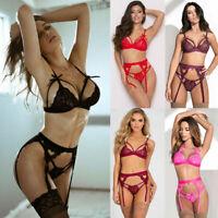 Women's Lace Sexy Lingerie Garter belt G-string Bra set Babydoll Sleepwear Hot