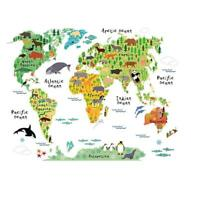 Animal Educational World Map Wall Sticker Decal For Kids Baby Room Decor