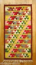 Vintage HANDWOVEN MULTICOLOUR GEOMETRIC WOOL KILIM 136x70 cm | Tapestry Rug