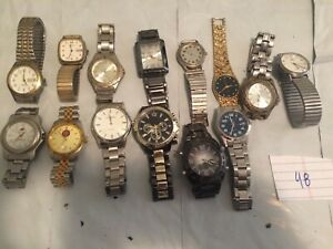 Vintage Huge Lot of Men's Metal Band Watches - Timex and More (48)