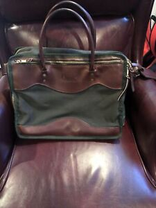 Orvis Mens Briefcase Laptop/messenger Bag Green Canvas Leather Classic