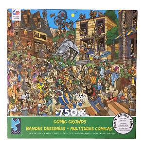 Len Epstein Comic Crowds Puzzle Ol' West W/ Poster Ceaco 750 Piece 1 Pc Missing