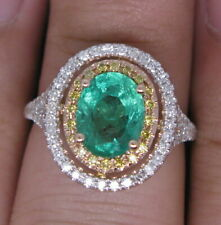 Natural Diamond Green Oval Emerald Engagement Halo Ring Solid 14K Gold Jewelry