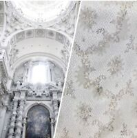 NEW! Brocade Italian Fabric- White,Ivory, Grey Floral- Upholstery Neoclassical