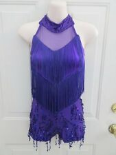 Purple Fringe Sequin Black Jacket Dance Costume XS Adult XSA