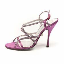 DOLCE & GABBANA Sandals Purple Satin Diamante Strappy Size 38.5 RWW 224