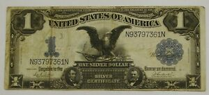 1899 Large $1 Black Eagle Silver Certificate - Parker/Burke - Well Circulated