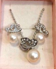 Butterfly Pearl Crystal rhinestone Necklace ,Earring Gift Set