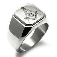Stainless Steel Masonic Floral Compass Mens Square Biker Style Signet Ring